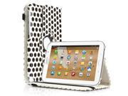 Rotating Polka Dot Pattern Leather Case Cover With Stand For Samsung Galaxy Note 8.0 N5100 White