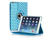 iPad Air Case - 360 Degree Rotating Stand Folio PU Leather Smart Cover Case For iPad Air iPad 5th Gen 2013 Model with Built-in Magnet for Sleep & Wake feature & Stylus Holder Polka Dot Pattern Blue