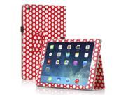 Apple iPad Air Case - Slim Fit Leather Folio Smart Cover Stand For iPad Air 2 / iPad Air with Automatic Sleep & Wake Feature and Stylus Holder Polka Dot Pattern Red