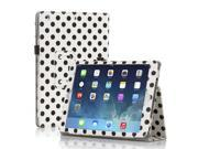 Apple iPad Air Case - Slim Fit Leather Folio Smart Cover Stand For iPad Air 2 / iPad Air with Automatic Sleep & Wake Feature and Stylus Holder Polka Dot Pattern White