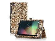 Google Nexus 7 Case- Slim Fit Folio PU Leather Case Smart Cover Stand For Google Nexus 7 2nd Gen 2013 Version with Auto Sleep Wake Feature and Pen Loop / Stylus Holder / SD Card Slots Leopard Yellow