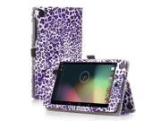 Google Nexus 7 Case- Slim Fit Folio PU Leather Case Smart Cover Stand For Google Nexus 7 2nd Gen 2013 Version with Auto Sleep Wake Feature and Pen Loop / Stylus Holder / SD Card Slots Leopard Purple
