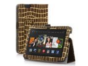 "Amazon Kindle Fire HDX 7 Case - Slim Folio Leather Case Cover Stand For Amazon Kindle Fire HDX 7 7"" 2013 Edition with Stylus Holder Gold Stripe Pattern Brown"