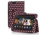 "Amazon Kindle Fire HDX 7 Case - Slim Folio Leather Case Cover Stand For Amazon Kindle Fire HDX 7 7"" 2013 Edition with Stylus Holder Polka Dot Pattern Pink"