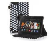 Amazon Kindle Fire HDX 7 Case - 360 Degree Rotating PU Leather Case Smart Cover Stand For Amazon Kindle Fire HDX 7 2013 Model with Wake & Sleep Feature & Stylus Holder Polka Dot Black