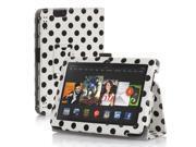 "Amazon Kindle Fire HDX 8.9 Case - Slim Folio Leather Case Cover Stand For Amazon Kindle Fire HDX 8.9"" Tablet 2014 & 2013 Edition with Stylus Holder Polka Dot White"
