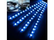 4x Waterproof Car Lighting Flexible Decorative Light Lamp Strip 15 LED/30cm Blue