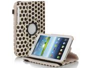 Galaxy Tab 3 7.0 Case - Slim PU Leather Folio Case Smart Cover Stand For Samsung Galaxy Tab 3 7.0 P3200 P3210 with Auto Sleep & Wake and Hand Strap and ID/Credit Card and SD Card Slots Polka Dot White