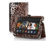 Amazon Kindle Fire HD 7 Case - Slim Fit Folio Leather Smart Cover Stand For Amazon Kindle Fire HD 7'' 2nd Gen 2013 Model with Auto Sleep & Wake Feature and Stylus Holder Leopard Pattern Brown