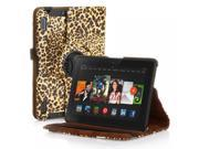 Amazon Kindle Fire HDX 8.9 Case - 360 Degree Rotating PU Leather Case Smart Cover Stand For Amazon Kindle Fire HDX 8.9 2013 Model with Wake & Sleep Feature & Stylus Holder Leopard Brown