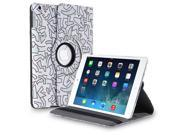 Apple iPad 4/3/2 Case - 360 Degree Rotating Stand Folio PU Leather Smart Case Cover with Automatic Wake & Sleep Feature and Stylus Holder For iPad 4th Gen ,iPad 3 & iPad 2 Abstract Art White