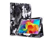 Samsung Galaxy Tab 4 10.1 Case - Slim Fit Folio PU Leather Smart Cover Stand For Samsung Galaxy Tab 4 10.1 T530/T531/T535 with Auto Sleep & Wake Feature and Stylus Holder Camouflage Black & Gray