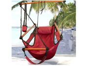 Hammock Hanging Chair Air Deluxe Sky Swing Outdoor Seat Chair Solid Wood 250lb Red with Pillow Arm Arrest Footrest Holds and Drink Holder for Patio Furniture Camping