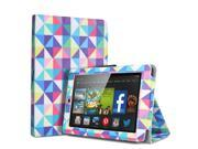 Kindle Fire HD 6 Case - Folio Leather Smart Cover Case Stand For Amazon Kindle Fire HD 6 6'' Display (2014 Edition) with Automatic Wake Sleep Feature and Stylus Holder Square Multi Color Diamond Shape