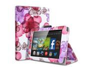 Kindle Fire HD 7 Case - Slim Fit Folio PU Leather Smart Cover Case Stand For Amazon Kindle Fire HD 7 7'' Display (2014 Edition) with Automatic Wake Sleep Feature and Stylus Holder Flower Pattern Pink