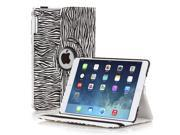 iPad Air Case - 360 Degree Rotating Stand Folio PU Leather Smart Cover Case For Apple iPad Air iPad 5th Gen 2013 Model w/ Built-in Magnet for Sleep & Wake feature & Stylus Holder Zebra Black and White