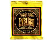 Ernie Ball Acoustic Guitar Strings  - Everlast 80/20 Coated - 10-50 - 1 Pack