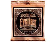 Ernie Ball Acoustic Guitar Strings  - Everlast Phosphor Bronze Coated - 12-54