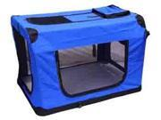 """42"""" Blue Portable Pet Dog House Soft Crate Carrier Cage Kennel Free Carry Case"""