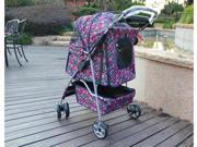 Classic Fashion BestPet Fashion Flower 3 Wheel Pet Dog Cat Stroller Free Raincover