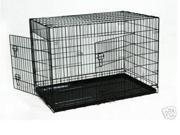 "New 30"" 2 Door Black Folding Suitcase Dog Crate Cage Kennel LC ABS Pan"
