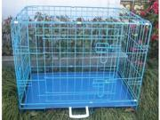 """42"""" 2 Door Blue Folding Dog Crate Cage Kennel LC ABS"""