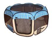 Blue Grid Pet Dog Cat Tent Puppy Playpen Exercise Pen M