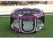 Pink Plaid Pet Dog Cat Tent Puppy Playpen Exercise Pen M