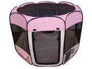 Pink Grid Pet Dog Cat Tent Puppy Playpen Exercise Pen L