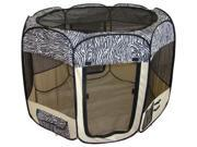 Zebra Pet Dog Cat Tent Puppy Playpen Exercise Pen L