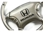 Honda Honda Chrome Steering Wheel Key Fob Authentic Logo Key Chain Key Ring Keychain Lanyard KCW.HON
