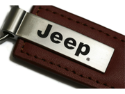 Jeep Brown Leather Key Fob Authentic Logo Key Chain Key Ring Keychain Lanyard KC1541.JEE