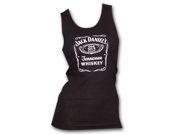 Jack Daniels Whiskey Label Logo Black Ribbed Womens Graphic Tank Top