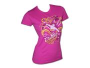 Wonder Woman Stars Swirls Fuchsia Juniors Graphic T Shirt