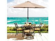 9' Aluminum Patio Market Umbrella Tilt W/ Crank Outdoor
