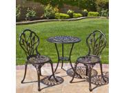 Outdoor Patio Furniture Tulip Design Cast Aluminum Bistro Set in Antique Copper