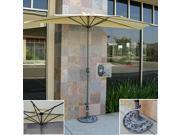 Patio Umbrella Half With Umbrella Stand 9' Tan Market Wood Umbrella Commercial