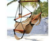 Hammock Hanging Chair Air Deluxe Sky Swing Outdoor Chair Solid Wood 250lb Tan