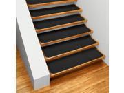 Set of 15 Skid-resistant Carpet Stair Treads - Black - 8 In. X 27 In.