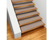 Set of 12 Skid-resistant Indoor Carpet Stair Treads - Praline Brown - Several Other Sizes to Choose From