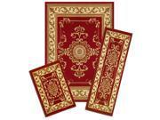 Capri Area Rug: 171/372-V Royal Crown-Red: 3 Piece Set