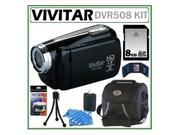 Vivitar DVR508 HD Digital Video Camcorder in Black + 8GB Kit