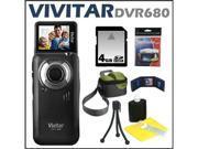 Vivitar DVR680 5.1MP 4X Itwist Digital Camcorder Black + 4 GB Memory Card + Camcorder Bag + Accessory Kit