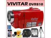 Vivitar DVR810 8.1MP HD Digital Video Recorder Strawberry Red + 8GB SD Memory Card + Zeikos Camcorder Bag + Accessory Kit
