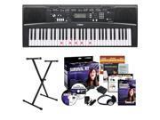 Yamaha EZ220 61-Key Portable Keyboard + On Stage Single-X X-Style Keyboard Stand + Accessory Kit