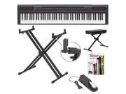 Yamaha P105B 88 Keys Digital Piano in Black with Yamaha YKA7500 Double X Stand and Pedal Keyboard Bench and Alfred Learn To Play DVD