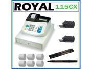 Royal 115CX Portable Electronic Cash Register + Counterfeit Pens + Ink Roller + Paper