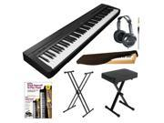 Yamaha P Series P35B 88-Key Digital Piano (Black) + Portable X Style Keyboard Bench + On Stage KS7191 Classic Double-X Keyboard Stand + Alfred's Teach Yourself to Play Piano
