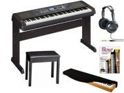 Yamaha DGX-650 88-Key Graded Hammer Action Digital Piano + JVC HARX300 Full-Size Headphones + On Stage KDA7088B 88-Key Electronic Keyboard Dust Cover + Yamaha BB1 Piano Bench + Book & DVD