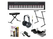 Yamaha P Series P105B 88-Key Digital Piano + Keyboard Stand + Keyboard Bench + Dust Cover + Full-Size Headphones + Piano Style Sustain Pedal + Alfred's Teach Yourself to Play Piano - Book & DVD